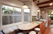 Ideas For Window Seats : Cozy Kitchen Window Seats Design With Table Chair Pendant Lamps Expose Wooden Beams Ceiling Wooden Flooring Ideas