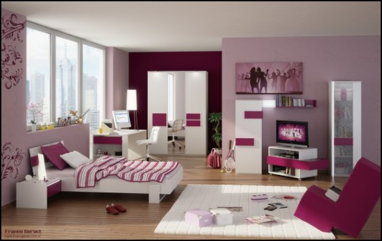 Decorating Ideas: Cool Room For Teenagers: Cozy Lavender Scheme Wall With Wooden Floor And Large Glass Window Coo Teenagers Girl Bedroom Interior Design With Glossy White And Lavender Stripe Furniture With Unique Chair On White Area Rug And Wallpaper