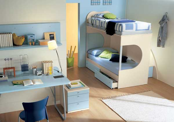 Space Saving Ideas: Various Bunk Beds Design Ideas : Cozy Light Blue White Scheme Teen Bedroom Interior Design With Cool Bunk Beds And Wooden Flooring Ideas