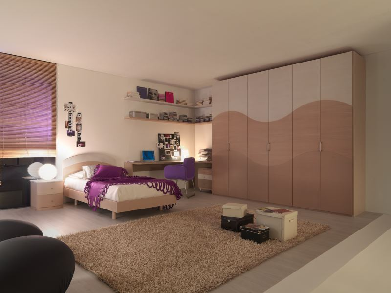Decorating Ideas: Cool Room For Teenagers: Cozy Light Brown Scheme Cool Teenagers Girl Room Decorating With Big Closet And Bookshelf Above Desk With Puple Chair And Pillow With Bedside Table Lamp Blind And Rug On Wooden Flooring Ideas