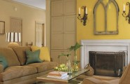 Sunny Yellow Paint Colors Make Your Living Room Feels Warm : Cozy Light Brown Yellow Living Room Deciration With White Fireplace Ideas