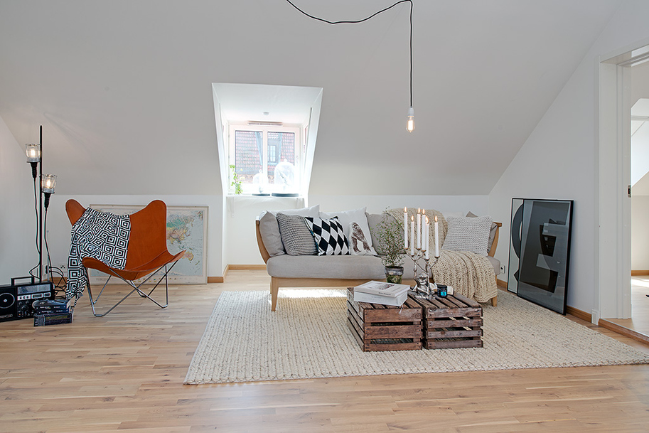 90sqm Elegance And Minimalism Apartment Design In Swedish: Cozy Living Room Minimalism Apartment Interior Design With Sofa Cushions Chair Arch Lamps Rug Wood Floor Unique Wooden Box Table Ideas