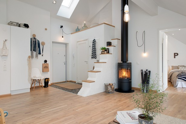 90sqm Elegance And Minimalism Apartment Design In Swedish: Cozy Minimalisn Elegance Living Room Apartment With Fire Place Closet Lamps Wooden Flooring Ideas ~ stevenwardhair.com Apartments Inspiration