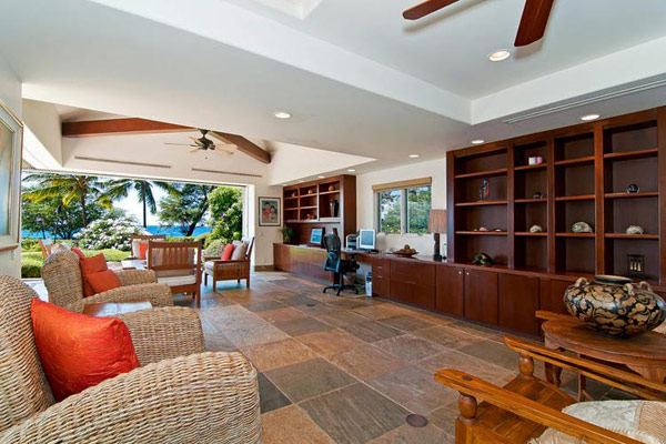 Tropical Gardens And Ultimate Villa Design In Maui, Hawaii: Thousand Waves Holiday Villa: Cozy Open Space Office Area Interior Design With Dark Brown Wooden Cabinet On Light Brown Slate Tile Floor With Rattan Chairs And Ocean View