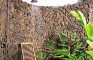 Pictures Of Inspiring Outdoor Shower Design Ideas : Cozy Outdoor Shower Design With Shower Chair Natural Stone Wall Garden Ideas