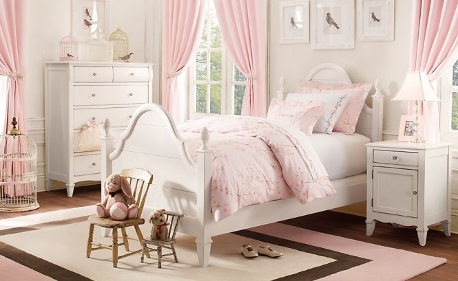 Attractive Personal Design Room For Girls To Show Their Emotions : Cozy Pink White Girls Room Traditional With Terrific White Elegant Carpet From Italy And Nice Windows Frame And Amazing Side Table Tiny Lamp