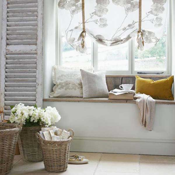 Picture Of Bay And Backyard View Windows: Cozy Room With Backyard View Window Seats Cushions Curtain Rattan Basket Tile Flooring Ideas ~ stevenwardhair.com Apartments Inspiration