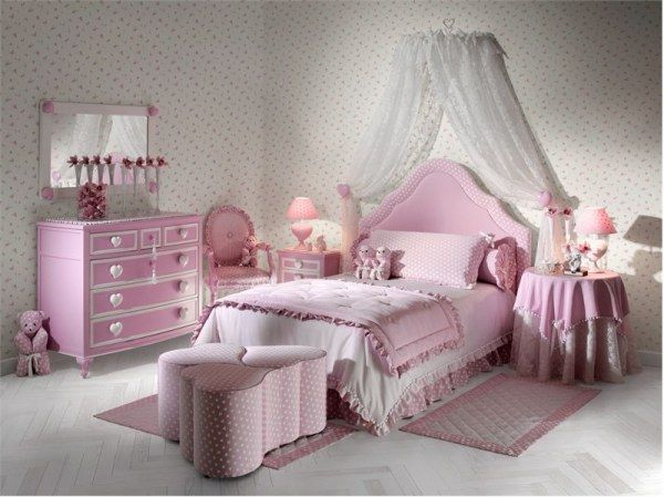 Pink and green girls bedroom ideas : Cozy Roomy Pink Girl Bedroom With Pink Cabinet Heart Shaped Puff