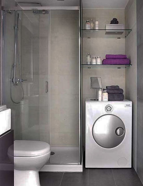 Small Bathroom Design Ideas: Cozy Small Bathroom Design Shower Box Washing Machine Wall Shelf Tile Wall Tile Flooring Ideas