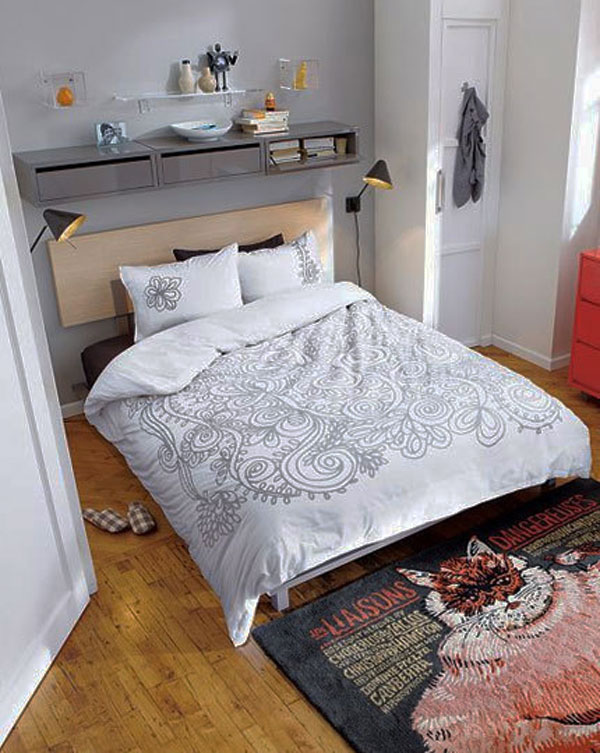 Excellent Ideas To Make Small Bedroom Look Bigger : Cozy Small Bedroom Design With Bed Wall Bookshelf Bedcover Cool Rug And Wooden Flooring Ideas