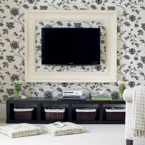 Simple But Smart Living Room Storage Ideas : Cozy Storage Decoration To Save The Space With A Traditional Bookcase And Open Shelves Interior With Picture Wall And Sideboards And Baskets And Flower Wallpaper