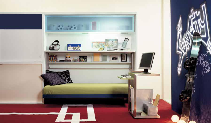 Decorating Ideas: Cool Room For Teenagers : Cozy Teenagers Room Interior Design With Folding Bed Cabinet With Ski Board On Red Carpet Ideas
