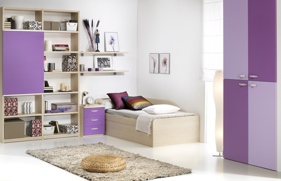 Decorating Ideas: Cool Room For Teenagers: Cozy Tennagers Room Interior Design With Lavender Scheme Closet And Bookshelves With Purple Bedside Table With Wall Decor And Rug Ideas