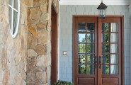 Amazing Home With Double Front Doors : Cozy Traditional Patio Natural Stones Floor And Wall And Double Front Door