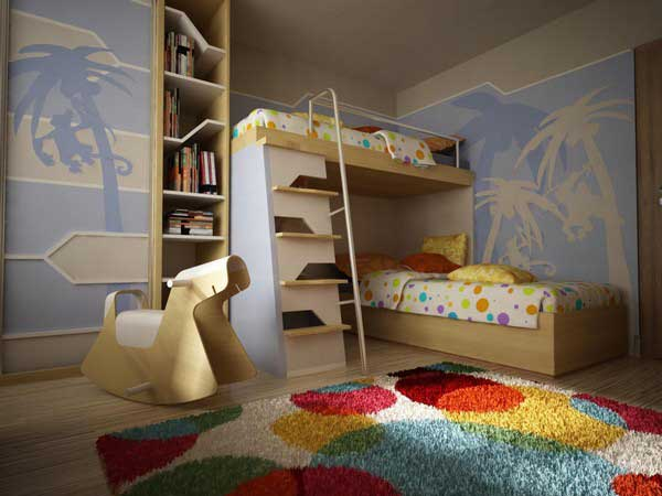 Space Saving Ideas: Various Bunk Beds Design Ideas: Cozy Tropical Setting Teenage Bedroom With Floor To Ceiling Bookshelves Beside Bunk Beds And Creative Horse Rocking Chair With Colorful Round Pattern Area Rug Wall Decor