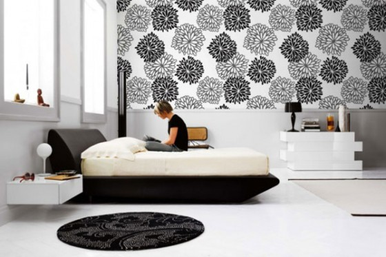 Wall Decal For Interior Decoration Ideas : Cozy White And Black Theme  Modern Bedroom Interior Decoration
