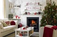 Beautiful Christmas Tree Decorating Ideas : Cozy White Living Room With Christmas Tree Decorations And Wallpaper Whitw Sofa Fireplace