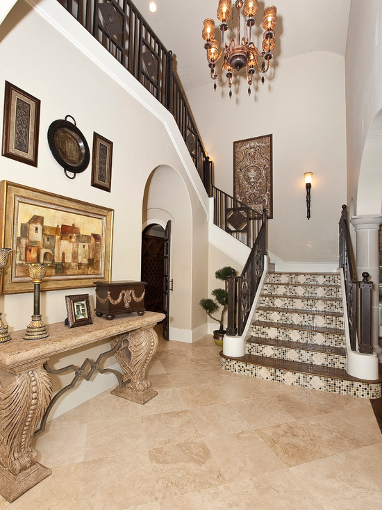 Floor Tiles Stairs Design Ideas : Cozy White Traditional Staircase Floor Tiles Stairs Plus Vintage Chandeliers