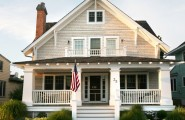 All Kinds Of Excellent Porch Rail Designs : Craftsman Exterior Shingles And Farmers Full Front Porch With Gabled Front And Railing Designs