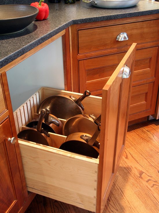 Efficient Saucepan And Pot Lid Storage: Craftsman Kitchen Wooden Drawer For Pots And Pans Storage