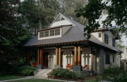 All Kinds Of Excellent Porch Rail Designs : Craftsman Porch Simple Design And No Guardrail With The Cream Color On The Main House