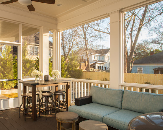 Wonderful Pictures Of Screened In Decks : Craftsman Screened Porch With Light Blue Sofa Cushions Bar Stools And Square Coffe Table Plus Ceiling Fan