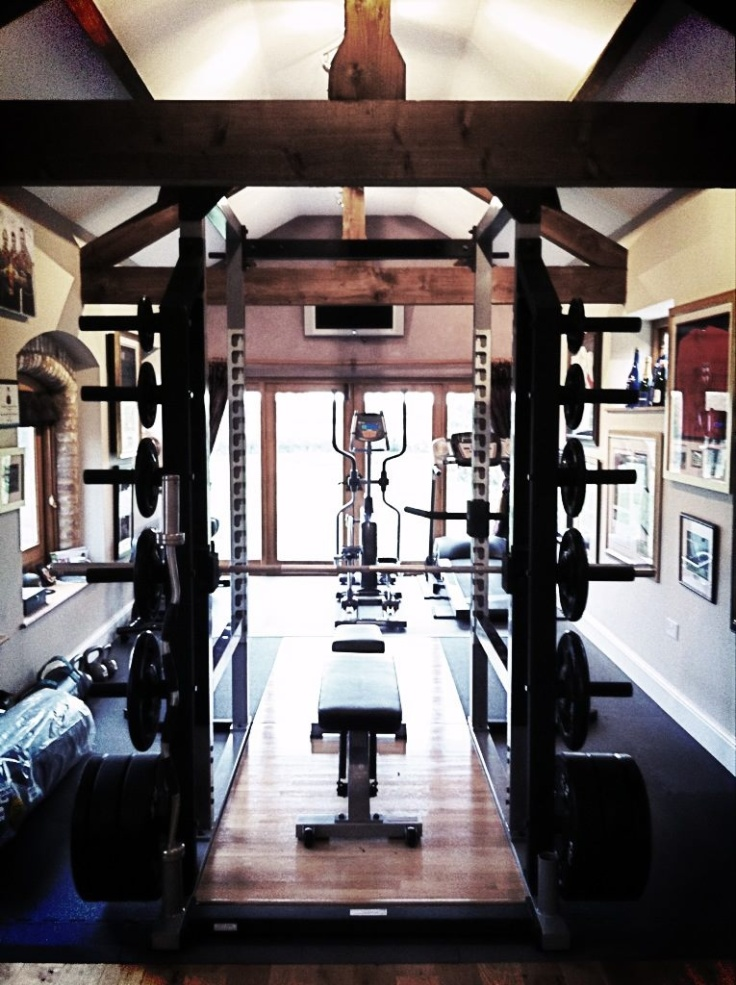 Inspiring Strategically Placed Gym In A Stylist Living Room : Creative Interesting Decoration For Your Home Gym Design Ideas Full Fitness Equpiment Wall Decoration Wood Floor Design
