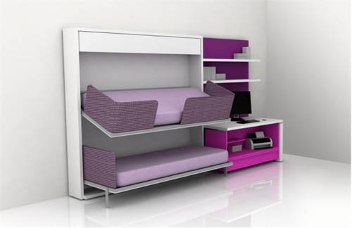 Furniture Ideas For Small Bedroom Design: Creative Modern Small Bedroom Furniture Design Idea That Consist Of Inspiring Purple Folding Beds Cabinet With Shelves And Bedside Table Design