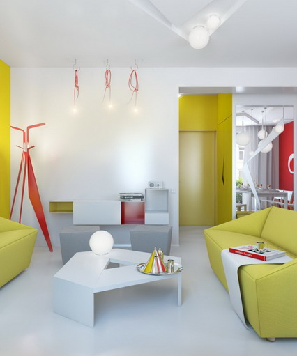 All Kind Of Sofas For Small Living Room Ideas : Cute And Beautiful Yellow Small Sofa In Modern Small Living Room Decorating With Large Mirror And Pendant Lights And Furniture Ideas