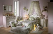Heart Themed Girls Bedroom Decorating Ideas : Cute Light Green Heart Themed Girls Bedroom Decoration With Bed Pillow Chest Of Drawer Mirror Quilt Armchair Cushions Pillow Wall Decor And Wooden Flooring Ideas
