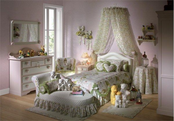 Heart Themed Girls Bedroom Decorating Ideas: Cute Light Green Heart Themed Girls Bedroom Decoration With Bed Pillow Chest Of Drawer Mirror Quilt Armchair Cushions Pillow Wall Decor And Wooden Flooring Ideas