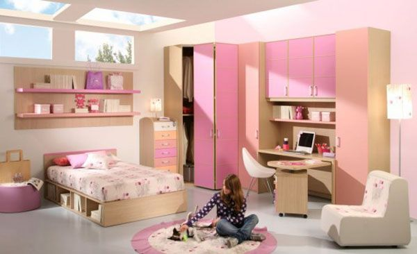 Modern Bedroom Decoration For Teenage Girls Ideas: Cute Pink Furniture Of Modern Girls Bedroom Room Design With Bookshelf Bottom Bed Ideas With Lamps And Rug