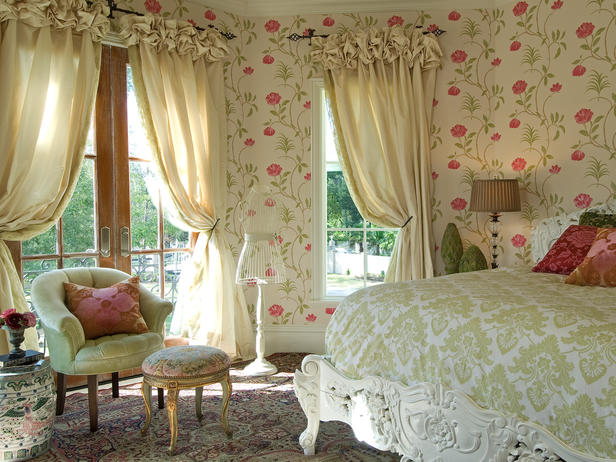 All Kind Of Stylish Drapery Treatments Design: Cute Romantic And Feminine Floral Wallpaper Bedroom Design With Custom Puff Top Silk Draperies Of Large Window And Door With Bed And Pouf Armchair On Area Rug