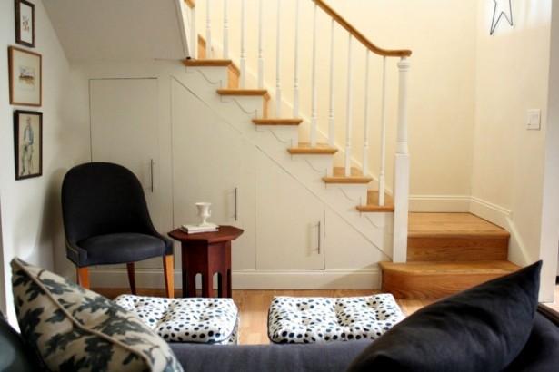 Cute Stools Under Stair Storage With Interesting Nice Laminated Wooden Stair Steps Design