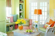 Cozy Designer's House Decorated With Colorful color : Dazzling Color And Vivid Shades Living Room In A Bunch Of Colors