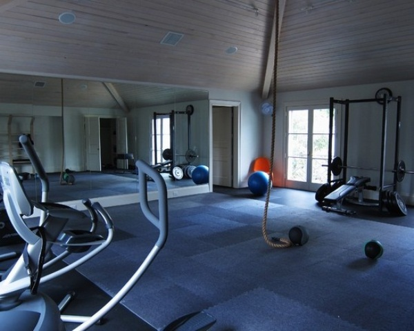 Inspiring Strategically Placed Gym In A Stylist Living Room: Decoration For Your Gym Design Ideas Full Length Mirrors And All Sorts Of Training Equipments Combined With Space For Aerobic And Yoga
