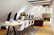 Small Apartment Design And Decoration : Delight Small Apartment With 8 Chairs White Wooden Dining Table Cozy Living Room Futuristic Fireplace Carpet Wooden Flooring
