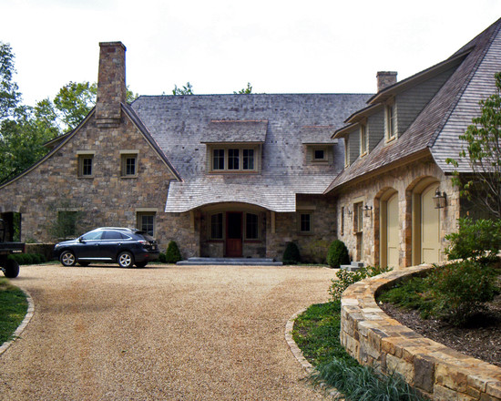 Crushed Gravel Driveway: Driveway With Small Stone At Rustic Exterior With Crushed Gravel Driveway