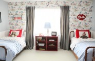 Awesome Jenny Lind Twin Beds : Eclectic Bedroom Antique Vintage Jenny Lind Bed And Vintage Wallpaper And Retro Sports Artwork