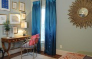 Interesting Blue Curtains Ideas For Bedroom Design : Eclectic Bedroom Blount Design Gold And Jewel Blue Silky Curtains And Mirror Grey Walls