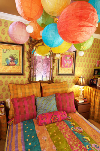 How To Make Paper Lanterns For Kids: Eclectic Bedroom The Bedding And Paper Lanterns And Whimsical Feel To This Room Colorful Paper Lanterns Clustered Together Are Like A Bouquet Of Balloons ~ stevenwardhair.com Bedroom Design Inspiration