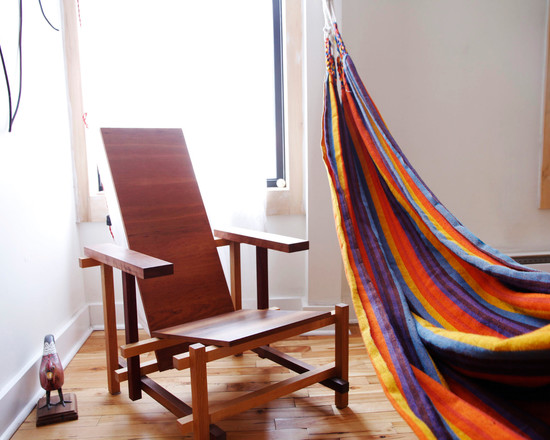 Awesome Hammocks For Indoors: Eclectic Bedroom With Colorful Hammocks For Indoors Under The Sky Lights And Wooden Arm Chair ~ stevenwardhair.com Bed Ideas Inspiration