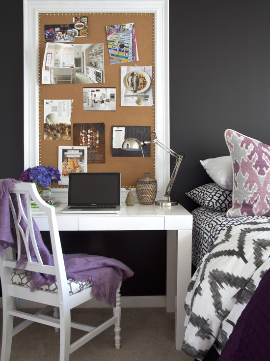 Beautiful Black White And Purple Colors Design: Eclectic Black White And Purple Scheme Bedroom And Right White Decorative Molding And Nailhead Detailing Frame A Boudoir Appropriate Corkboard