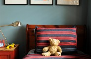 Amazing Boys Bedroom Paint Color Schemes : Eclectic Boys Bedroom Color Schemes Bright Red Wall And This Bedding Would Tone Down The Red
