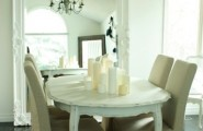 Cozy White Kitchen Table and Chairs : Eclectic Dining Room Distressed White Table With Linen Burlap Neutral Coloured Chairs Chairs Vintage Chandelier Big White Framed Mirror In Dining Room