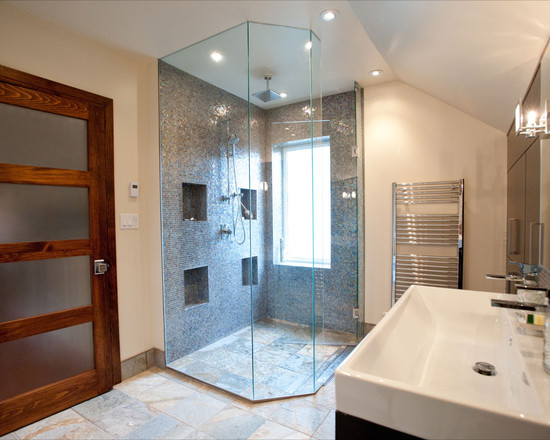Bathroom Design Eclectic Family Room Barrier Free Shower With
