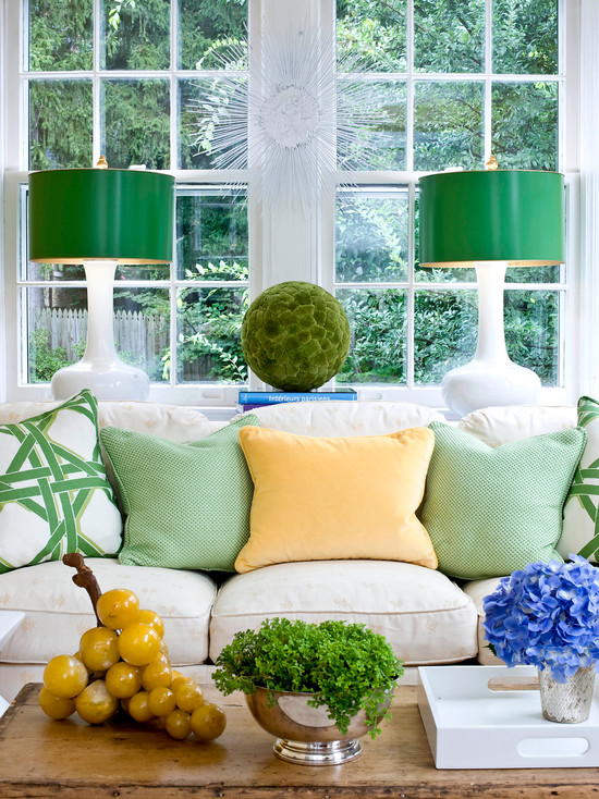 Amazing Crystal Spheres Table Lamp Designs: Eclectic Family Room With Green Shades With Milk Glass Lamps Pillows Grapes Table Lamp