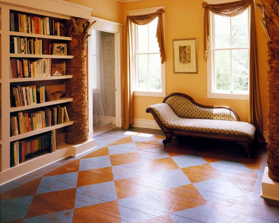 Home Design Pictures Of Painted Wood Floor : Eclectic Hall Palmetto Tree Bookcase Paint Pad