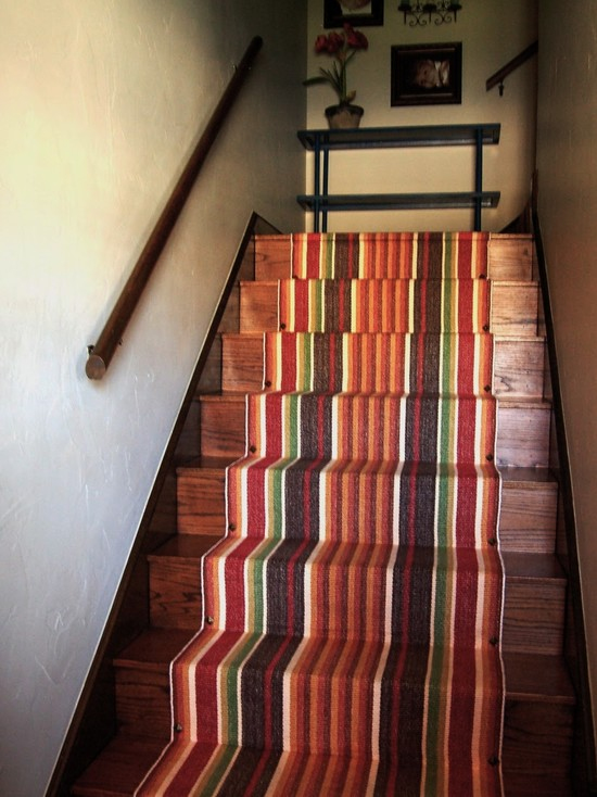 Excellent Striped-Stair-Runner For Staircase: Eclectic Hall With Amazing Dash And Albert Striped Stair Runner