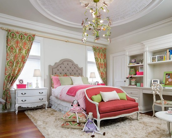 Beautiful Candice Olson Bathroom Designs: Eclectic Kids Candice Olson Little Girls Bedroom Pink Sofa And Bed Vintage White Side Table Fur Rug And Chandelier